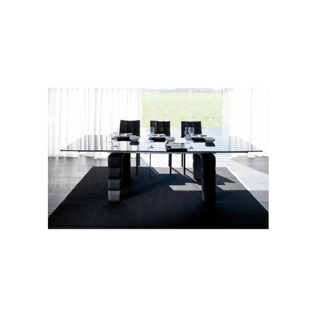Cosy&TENDANCE Table Verre Dolce 1 - 200/300 100 76 cm - Stee - Noir