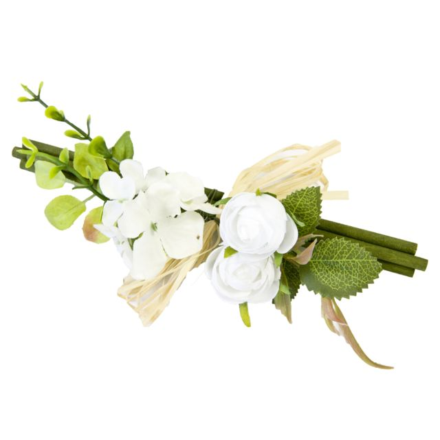 Visiodirect Lot de 10 Fagots de bois vert avec rose coloris blanc - 18 x 8 cm