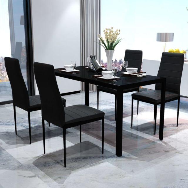Joli Ensembles de meubles ligne Majuro Ensemble de table pour salle à manger cinq pièces noir