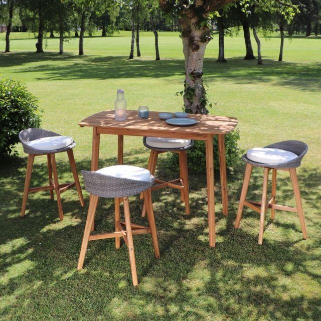 Bois Dessus Bois Dessous Salon de jardin haut en bois d'acacia 4 places