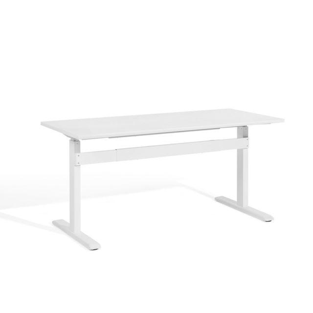 Soldes Beliani Table à Hauteur Réglable Plateau Blanc 160 X 70 Cm