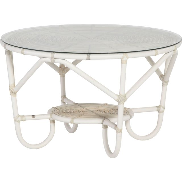 Comforium Table basse de jardin Ø 90cm coloris provance + vitre incluse