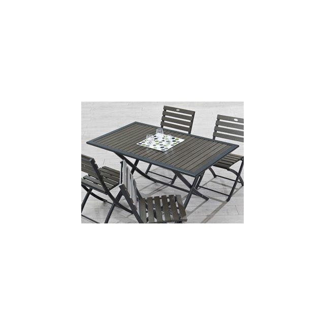 Dcb Groupe - VigiPiscine - Table pliante de jardin aluminium gris et ...