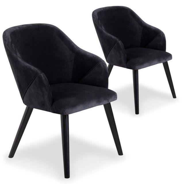 MENZZO Lot de 2 fauteuils Liberto Velours Noir