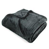 Linnea - Plaid polaire 150x200 cm microvelours 100% Polyester 320 g/m2 Velvet Noir