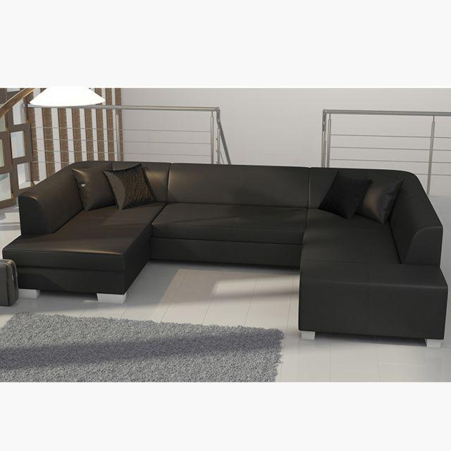Canapé d'angle panoramique convertible noir BRISTOL