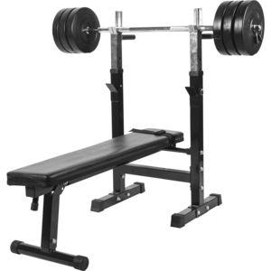 Gorilla Sports - Banc de musculation Gs006 + Set disques en plastiques et barre longue 37KG