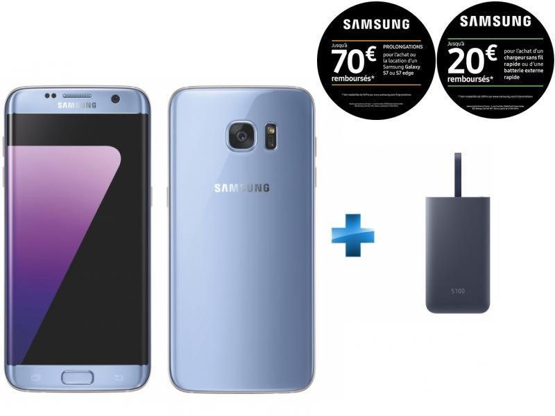 Galaxy S7 Edge Bleu + Fast Charge Battery Pack 5100mAh - Bleu marine
