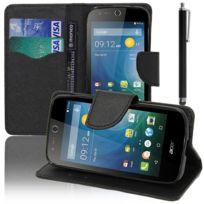 Vcomp - Housse Coque Etui portefeuille Support Video Livre rabat cuir Pu effet tissu pour Acer Liquid Z320/ Z330 + stylet - Noir
