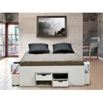 Lit avec chevets et rangements DENZO - 140x190cm - Laqué blanc