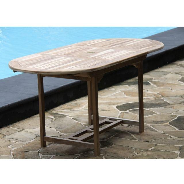 Bois Dessus Bois Dessous - Salon de jardin en teck brut pour 6/8 pers - Table 120/170x80 + 6 chaises Teck huilé - N/A