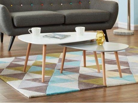 Marque Generique Tables basses gigognes Pamy - Mdf laqué & hêtre massif - Coloris blanc & gris