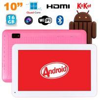 Tablette 10 pouces Android KitKat Bluetooth Quad Core 16Go Rose