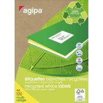 Agipa - 101195 - etiquette adresse multi-usage recyclée - format a4 - paquet de 100