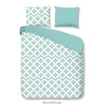 Good Morning - Parure de couette Textile 100% coton - 1 housse de couette 200x200 cm + 2 taies d'oreillers 60x70 cm bleu