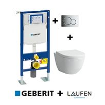 Geberit - Pack Up320 + Cuvette sans bride Rimless + plaque sigma Chr brillante