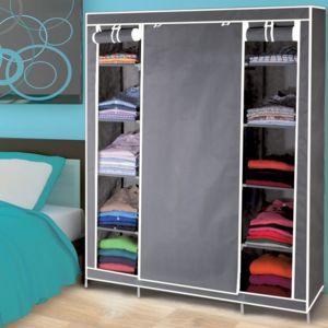 idmarket armoire de rangement grise dressing penderie xxl tissu pas cher achat vente. Black Bedroom Furniture Sets. Home Design Ideas