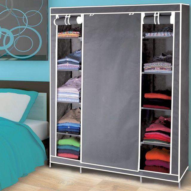 idmarket armoire de rangement grise dressing penderie. Black Bedroom Furniture Sets. Home Design Ideas