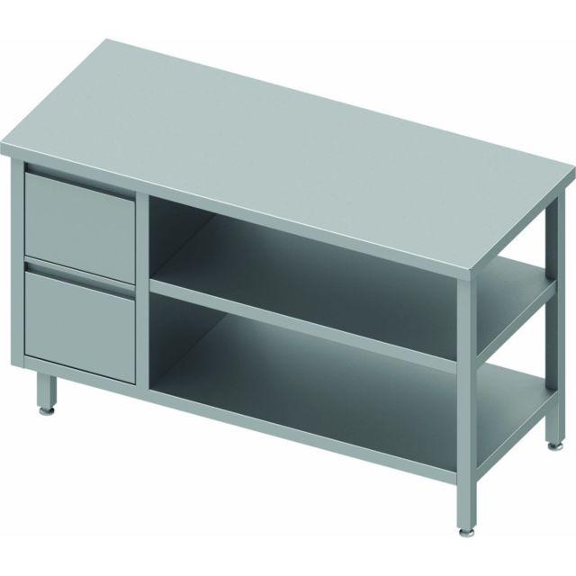 Materiel Chr Pro Table Inox Avec Tiroir & 2 Etagères à Droite - Sans Dosseret - Gamme 800 - Stalgast - inox 800x800 800
