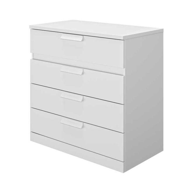 Tousmesmeubles Commode 4 tiroirs Blanc - Ilora