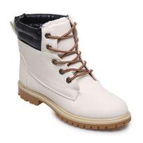Lamodeuse - Boots rangers fourrées simili cuir blanc