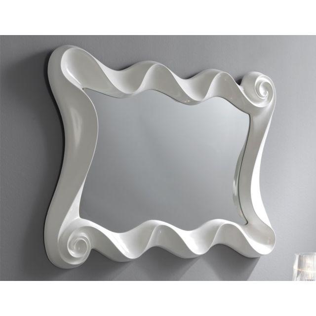 Nouvomeuble Miroir blanc laqué design Ortence