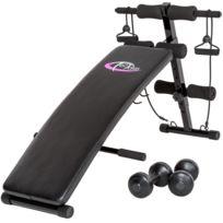 Helloshop26 - Banc de musculation abdominaux pliable haltères + cordes fitness sport 0708014