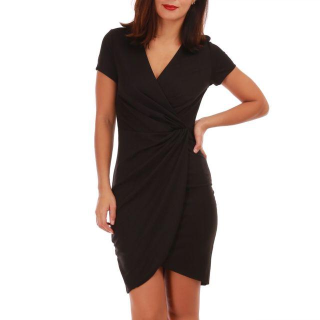 91c1c556b30bf Lamodeuse - Robe noire moulante style portefeuille - pas cher Achat ...
