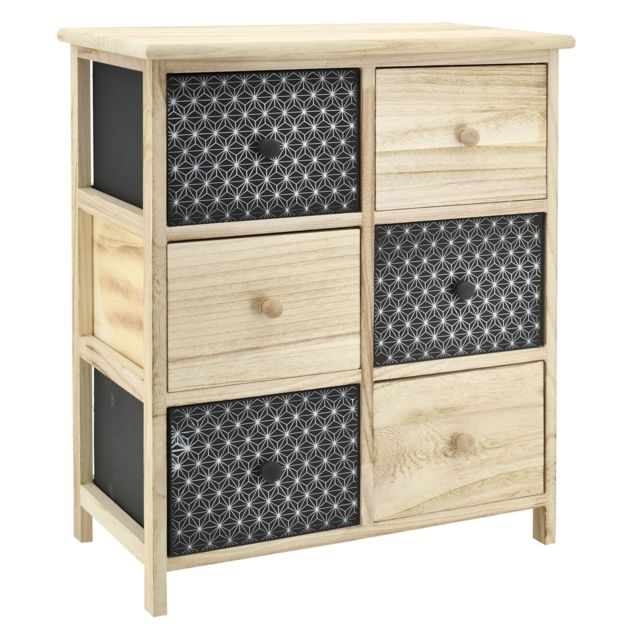 AUBRY GASPARD Commode en bois teinté noir et naturel 6 tiroirs