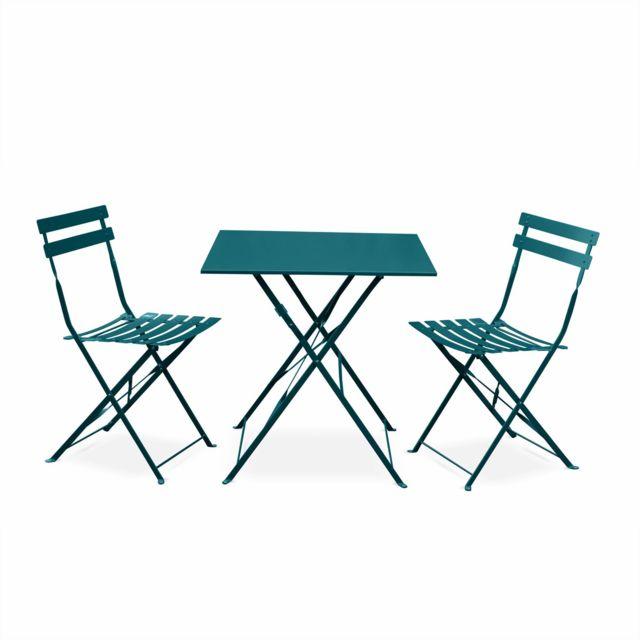 ALICE\'S GARDEN - Salon de jardin bistrot pliable - Emilia carré bleu ...