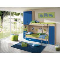 Mennza - Chambre d'enfant complète Hurra combiné lits superposés décor orme / bleu