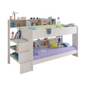 parisot lit superpos bibop blanc wit 90cm x 200cm pas cher achat vente structures de. Black Bedroom Furniture Sets. Home Design Ideas