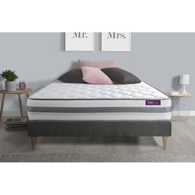 SEPTNUITS Matelas + sommier kit gris 160x200 Memo Spring Ressorts ensachés 3 zones de confort MAXI épaisseur