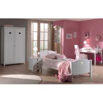 - Ensemble lit 90x200cm + chevet + armoire 2 portes + bureau coloris blanc