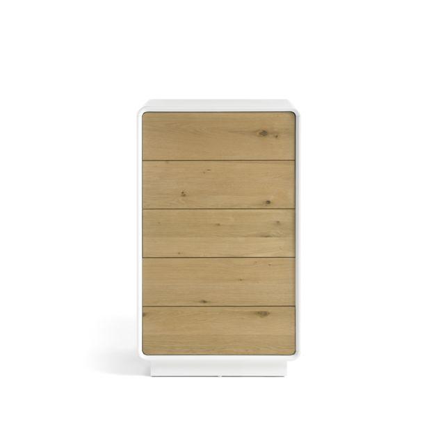 Pegane Commode avec 5 tiroirs coloris laqué blanc mat - L60 x H100 x P40 cm