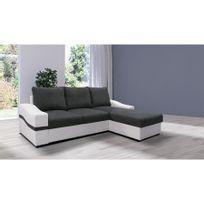 97b69c20d57a9 CHLOE DESIGN - Canapé d angle convertible Dylan - microfibre - gris et blanc  -