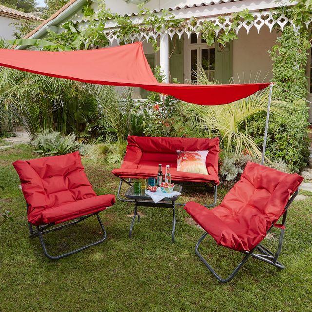 Alinéa - Shrink Salon de jardin pliant rouge en tissu et acier 4 ...