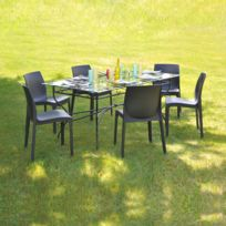 No Name - Table Ibiza rectangulaire + 6 chaises In-out / Noir - Anthracite