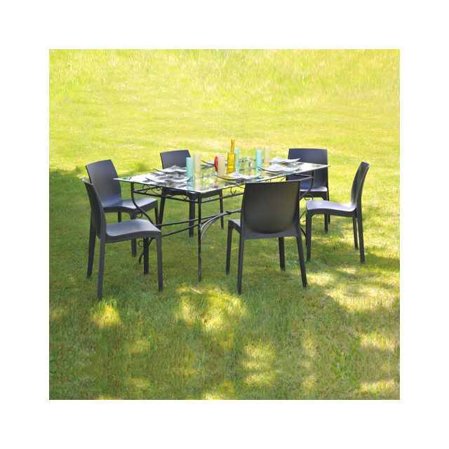 No Name Table Ibiza rectangulaire + 6 chaises In-out / Noir - Anthracite