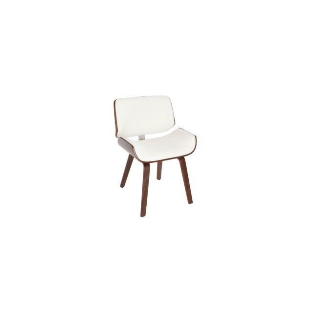 Miliboo Chaise design blanc et bois foncé noyer Rubbens
