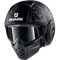 Shark - casque jet moto scooter Drak Raw Sanctus Kaa noir gris mat Xl