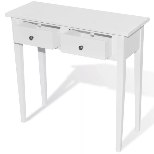 Icaverne - Bouts de canapé ensemble Table de console et coiffeuse avec 2 tiroirs Blanc