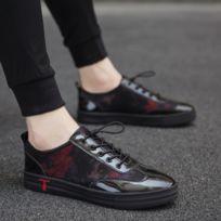 bcc48663c603c6 Wewoo - Chaussures décontractées à marée en cuir verni décontracté pour  hommes Couleur: Noir Rouge