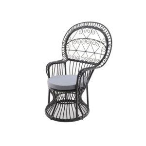 decoris fauteuil en r sine tress e imitation rotin coussin emmanuelle gris anthracite noir. Black Bedroom Furniture Sets. Home Design Ideas