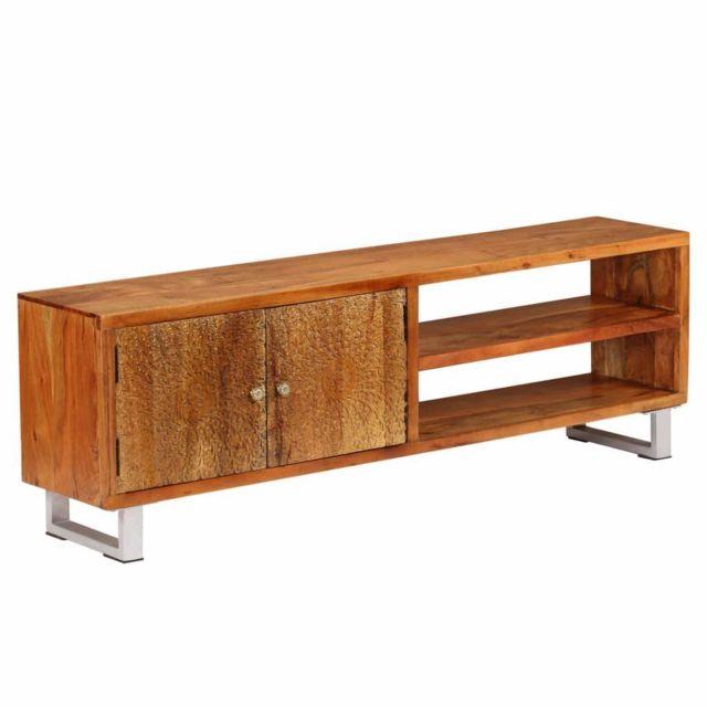 Helloshop26 Meuble télé buffet tv télévision design pratique bois massif avec portes sculptées 140 cm 2502166