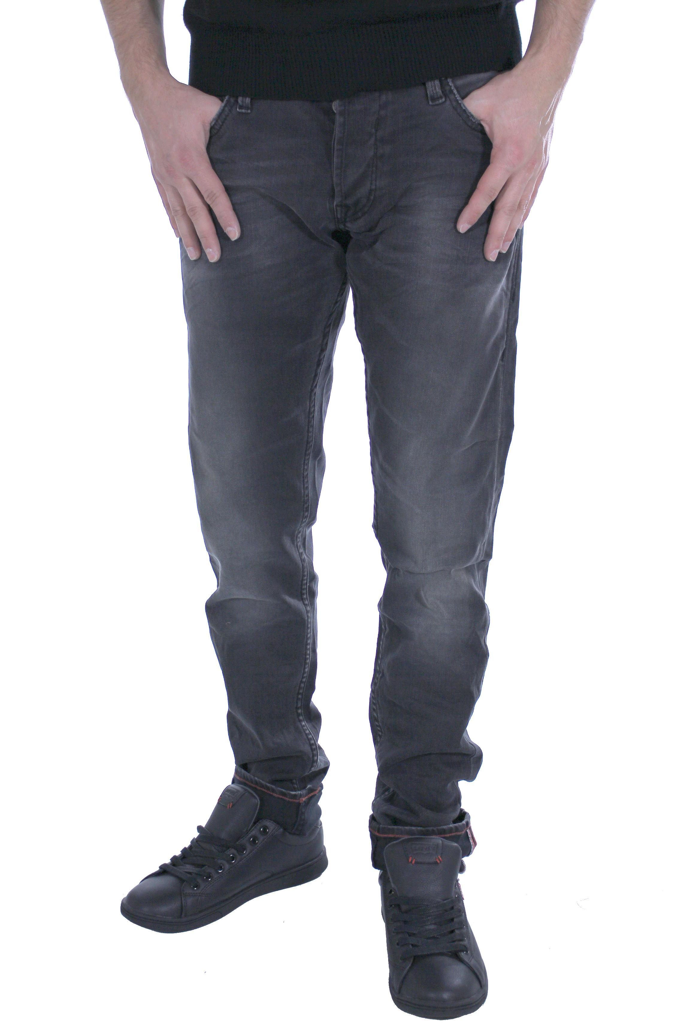 Japan Rags - Jeans homme 711WT168 noir usé