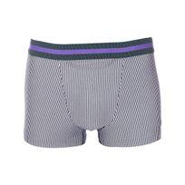 Hom - Boxer ouvert Ho1 en modal stretch à fines rayures blanches et bleu marine, ceinture verte et violette