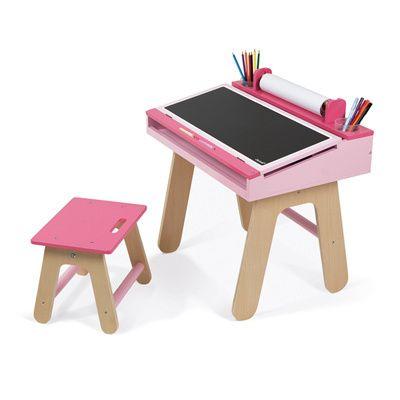 Top janod bureau et chaise rose with bureau fille rose for Chaise de bureau pour fille