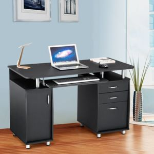 rocambolesk superbe bureau informatique meuble de bureau pour ordinateur 3 tiroirs tablette. Black Bedroom Furniture Sets. Home Design Ideas