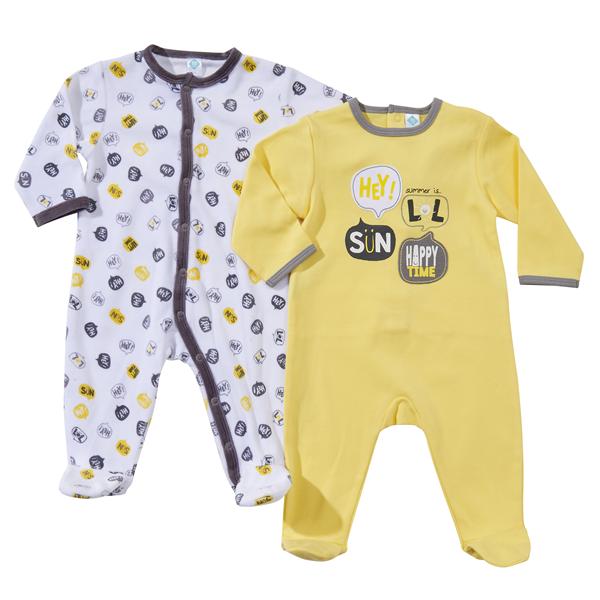 d06d39dd623e5 TEX BABY - Lot de 2 pyjamas bébé coton+velours - pas cher Achat ...